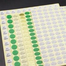 Etiqueta autoadesiva da passagem da marca registrada da inspeção da qualidade da passagem do qc da etiqueta aprovada do qc de 15 folhas
