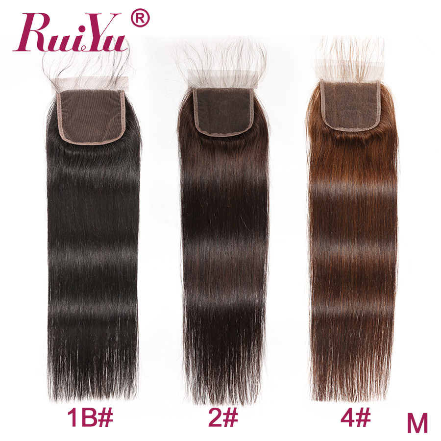Human Hair Lace Closure 4x4 Lace Closure Brazilian Straight Closure With Baby Hair RUIYU Remy Hair Wholesale