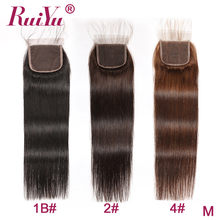Human Hair Lace Closure 4x4 Lace Closure Brazilian Straight Closure With Baby Hair RUIYU Remy hair Wholesale(China)