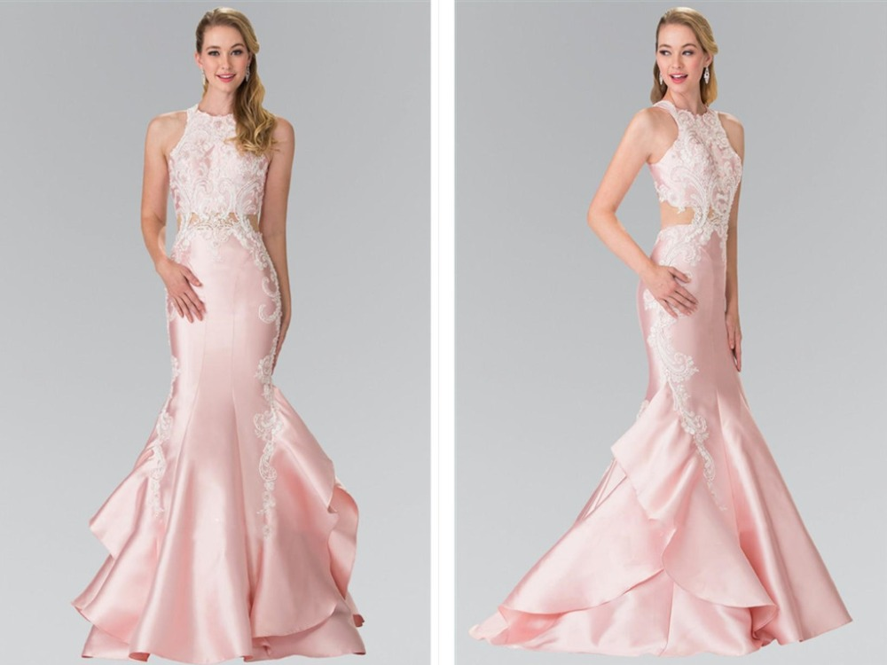 Vestido Novia Mermaid Evening Prom Gowns Lace Applique Beaded Ruffles Tiered Skirts Sleeveless 2018 Mother Of The Bride Dresses