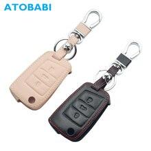 Кожаный чехол для автомобильных ключей, чехол для VW Golf 7 Volkswagen GTI R GTE MK7 Skoda Octavia A7 SEAT Leon Ibiza 3 кнопки складной чехол дистанционного брелока