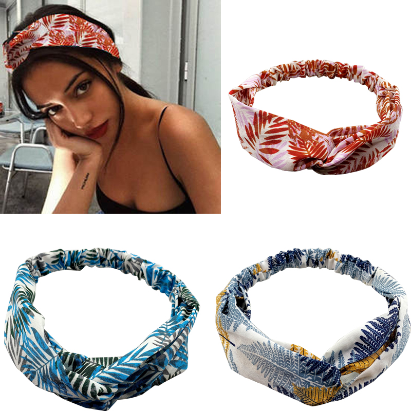 2020 New  Women Turban Cross Knot Headband Hair Bands Girl For Elastic Leaf Print Fashion Headdress Elastic Girls Accessorie