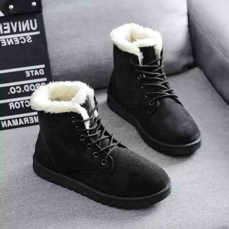 Giày Bốt Nữ Mùa Đông 2019 Ủng Giày Bốt Nữ Ấm Áp Ren Phẳng Nữ Giày Nữ Triều Giày Bán 2020