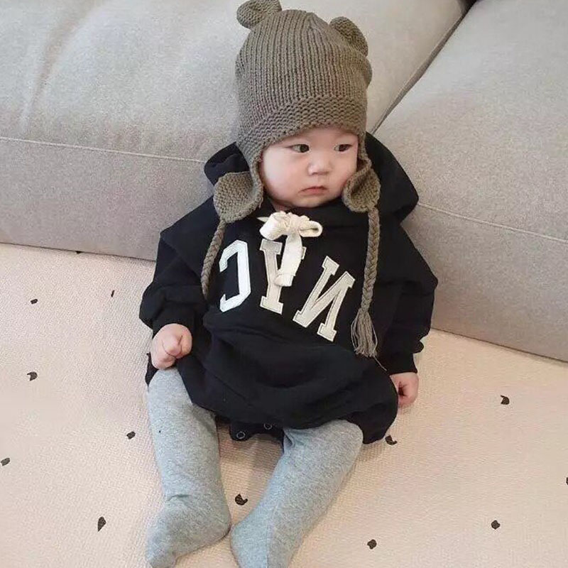 MILANCEL Baby Clothing Thicken Lining Infant Boys Jumpsuits Letter Print Toddler Boys Clothes