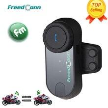 Freedconn original T COMOS bluetooth interphone capacete da motocicleta fone de ouvido sem fio intercom para 3 piloto + rádio fm macio