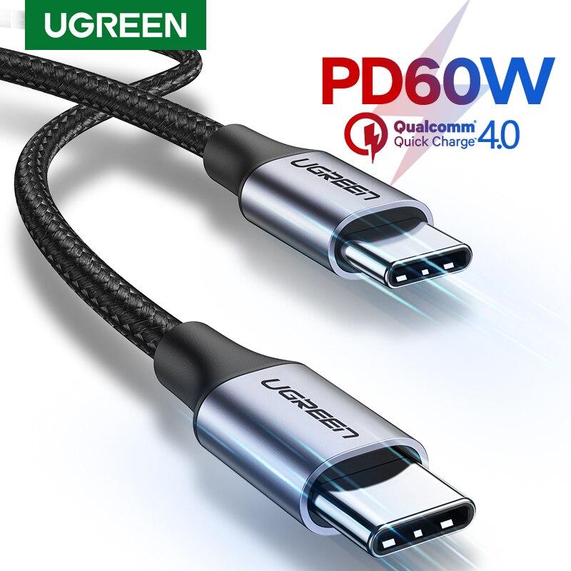 Кабель Ugreen USB C к usb type C для samsung S9 PD 60 Вт, кабель для MacBook Pro iPad Pro2020, быстрая зарядка 4,0, USB-C, кабель для быстрой зарядки usb