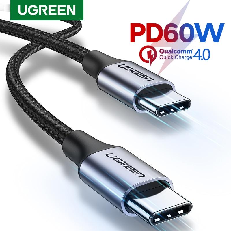 Ugreen usb c para usb tipo c para samsung s9 pd 60 w cabo para macbook pro ipad pro2020 carga rápida 4.0 USB-C cabo de carga rápida usb