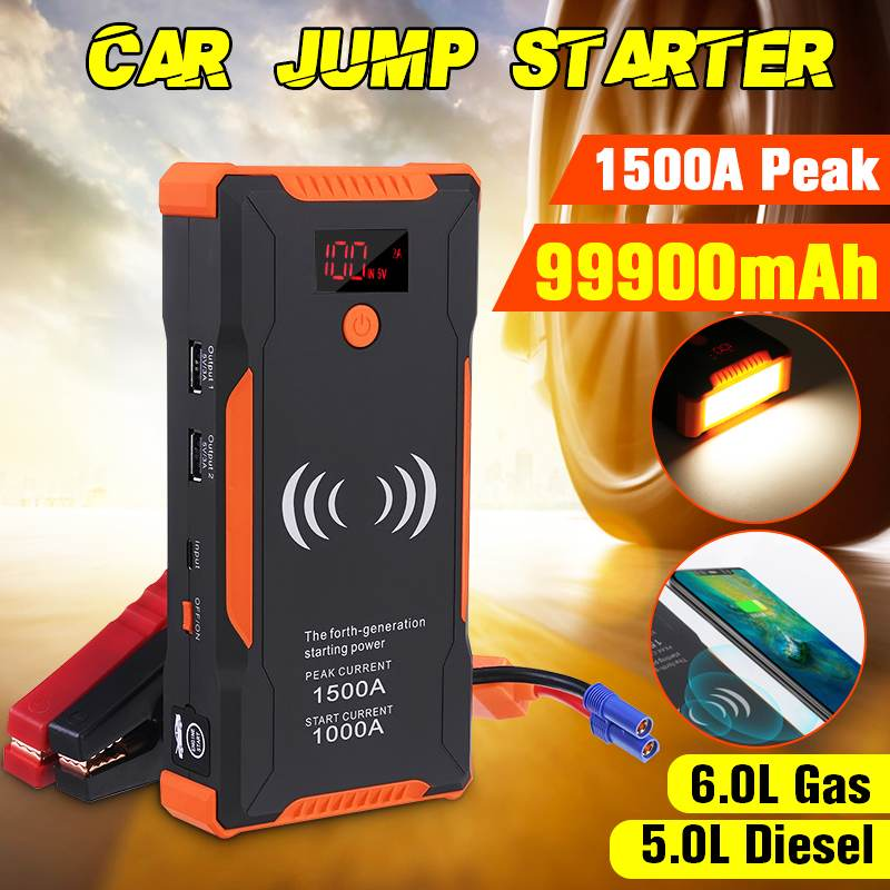High Power 1500A Peaks Car Jump Starter 12v 1000A Power Bank Wireless Phone Charge Auto Battery Booster Charger Starting Device