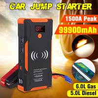 High Power 1500A Peaks Car Jump Starter 12v 1000A Power Bank Wireless Phone Charge Auto Battery Booster Charger Starting Device Jump Starter     -