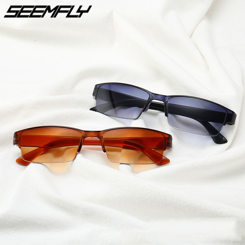 Seemfly Reading Glasses Half Frame Ultralight Resin Lens Reader Eyeglasses Unisex Presbyopic Eyewear +1.0 1.5 2.0 2.5 3.0 3.5