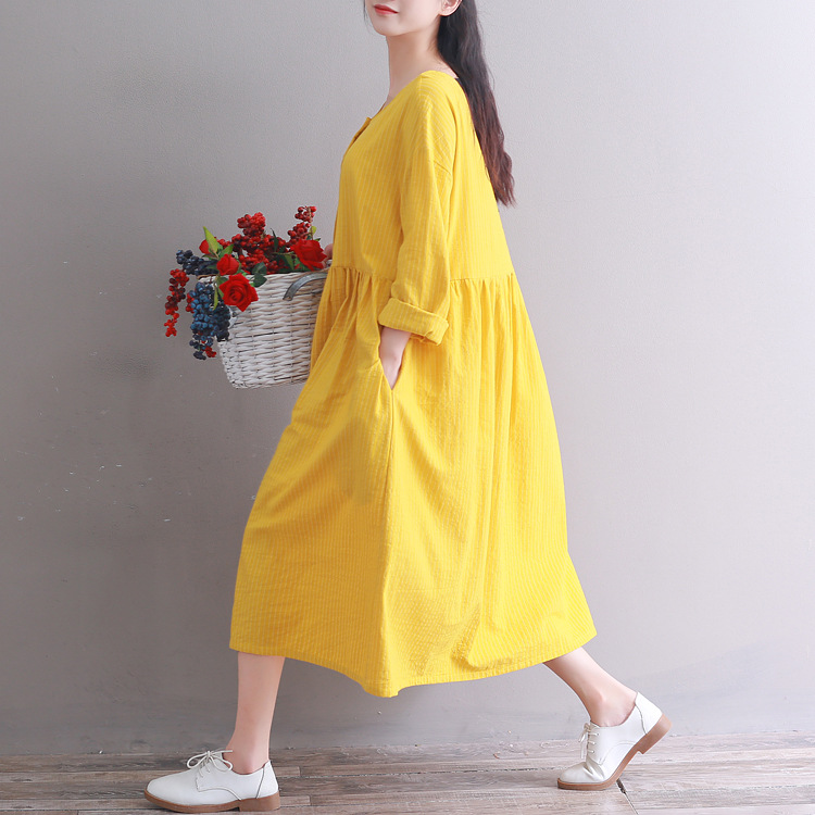 2018 Autumn Clothing New Style WOMEN'S Dress Literature And Art Japanese-style Loose And Plus-sized Stripes Yellow Round Neck Lo