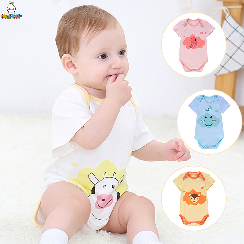 Cheap Cotton Baby Bodysuit Short Sleeve Unisex Outfit Onesie Set Children Clothes Lovely Newborns Girls Boys Cartoon Ropa Bebe(China)