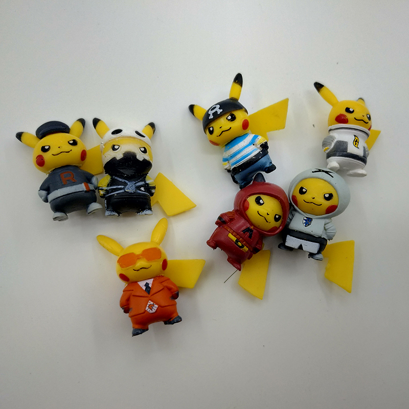 New Style 7pcs/set 3-3.5cm Mini Cartoon Pikachued Figure Pokemoned Figures Cartoon Pvc Action Figures Toys For Children