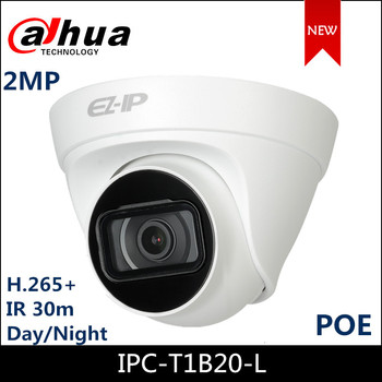 Dahua 2MP 1080P IR Turret Network Camera EZ-IP Camera 2.8 mm Fixed lens 3.6mm optional Waterproof H.265 Poe IPC-T1B20-L 100% original 6mp dahua ip camera english firmware ir 80m h 265 ipc hfw4631m i2 ir cut hd1080p support poe dh ipc hfw4631m i2