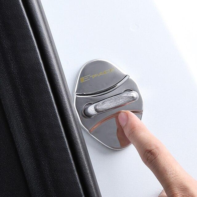 4pcs car Protection cover Car Door Lock car accessories interior For Jaguar F PACE E PACE XE XF R sport S Car sticker 5