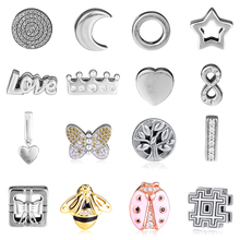 Original 925 Sterling Silver DIY Beads Reflexions Clip Charms Fit Pandora Bracelets Trinket Jewelry for Women kralen berloques 2018 autumn 925 sterling silver signature clip beads charm fits pandora reflexions bracelets for women fine jewelry diy making