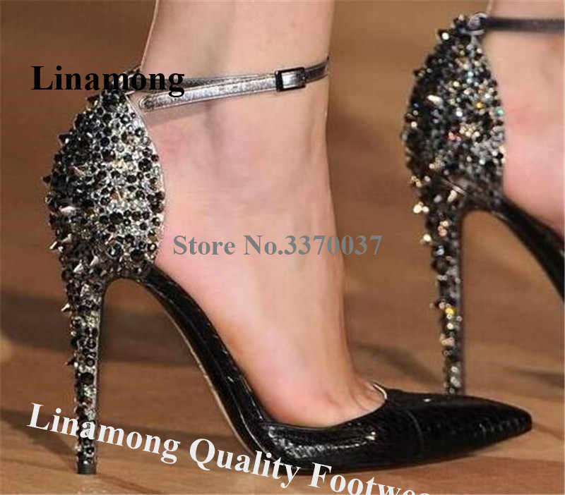 Bling Bling Women Fashion Pointed Toe Rhinestone Rivet Stiletto Heel Pumps Gold Leopard Spike High Heels Formal Wedding Shoes
