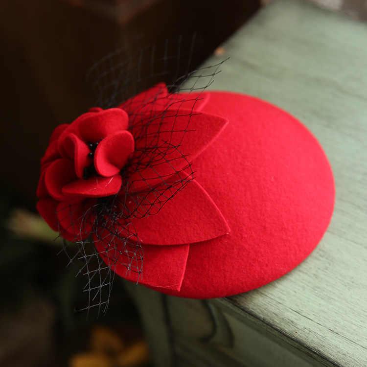 Vintage Murni Wol Topi Fedora Wanita Mesh Bunga Topi Hiasan Kepala Elegan Wanita Musim Gugur Kotak Obat Topi