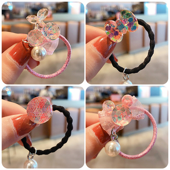 Children Cute Colorful Love Mickey Bow Acrylic Elastic Hair Bands Girls Baby Lovely Scrunchies Rubber Kid Accessories