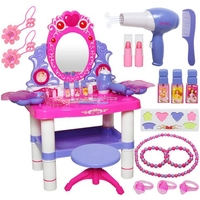 Pretend Play Makeup Toy Set Beauty Princess Dressing Table Vanity Girls Set with 16 Makeup Accessories, Flashing Lights