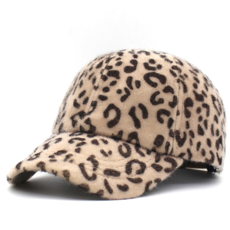 Women Winter Autumn Wool Baseball <font><b>Cap</b></font> <font><b>Sexy</b></font> Leopard Thick Warm Streetwear <font><b>Cap</b></font> Bone Snapback Adjustable Casual Sports Baseball <font><b>Cap</b></font> image