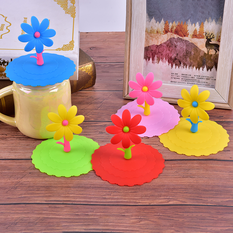 Cute Flowers Adorn Water Drinking Cup Lid Silicone Anti-dust Bowl Cover Cup Seals Glass Mugs Cap Cups Lid-silicon