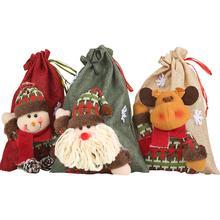Льняной рождественский подарочный мешок на шнурке, большая сумка для конфет, сумка для рождественских украшений с изображением оленя и яблока, вечерние принадлежности