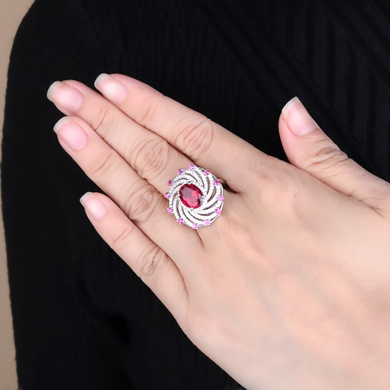Image 2 - Gems Ballet Huge Luxury Created Ruby Vintage Cocktail Ring 925  Sterling Silver Engagement Wedding Rings For Women Fine JewelryRings