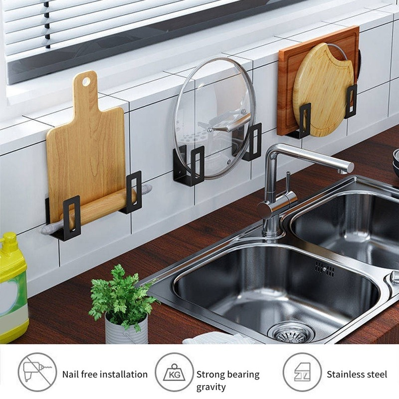 2pcs Stainless Steel Cutting Board Storage Rack Space Saving Wall Mounted Pot Lid Holder Sink Organizer Kitchen Shelf