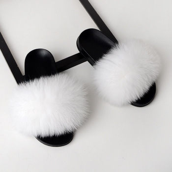 SARSALLYA Fur Slippers Women Real Fox Fur Slides Home Furry Flat Sandals Female Cute Fluffy House Shoes Woman Brand Luxury 2020 3