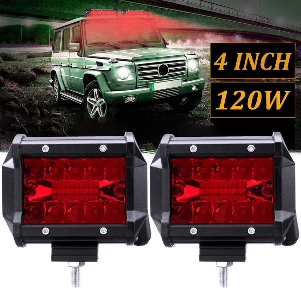 New Develop 2PCS 4 Inch Red LED Work Light Bar Flood Spot Driving Fog Lamp Offroad Truck Boat Wholesale Quick Delivery CSV