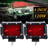 New Develop 2PCS 4 Inch Red LED Work Light Bar Flood Spot Driving Fog Lamp Offroad Truck Boat Wholesale Quick delivery CSV|Light Bar/Work Light| |  -