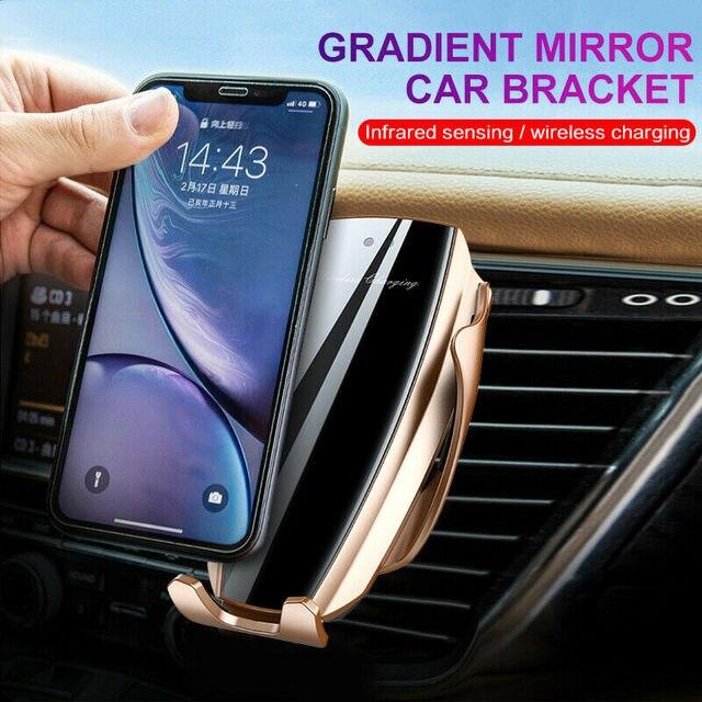 自動クランプ 10 ワット車のワイヤレス充電器 iphone xs huawei 社 lg 赤外線誘導チーワイヤレス充電器自動車電話ホルダー