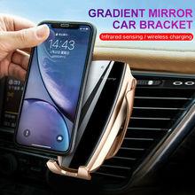 Automatische Spannen 10W Auto Draadloze Oplader Voor Iphone Xs Huawei Lg Infrarood Inductie Qi Draadloze Oplader Auto Telefoon Houder