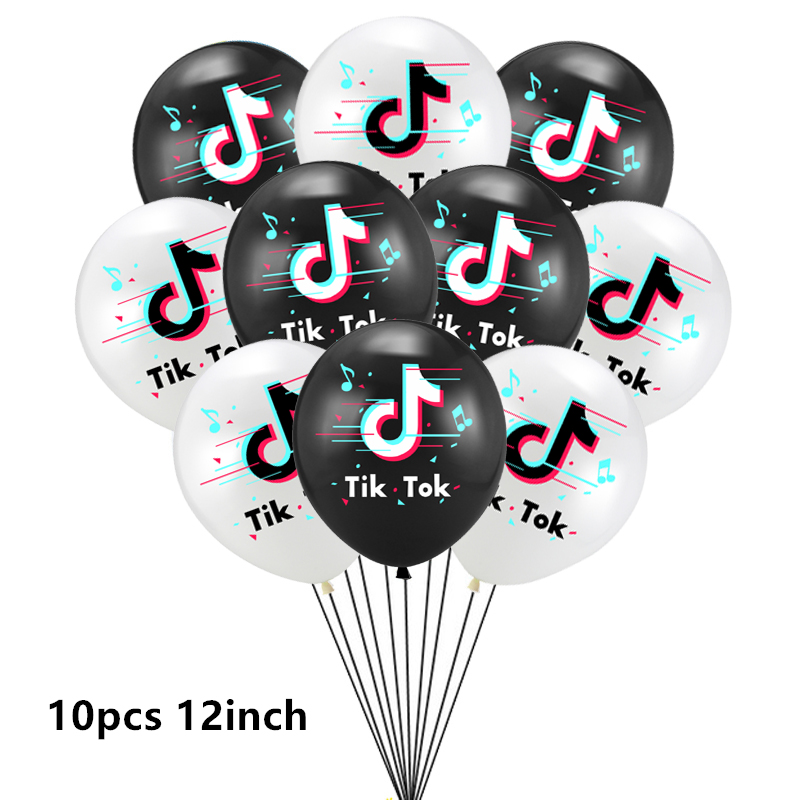 Тик тема фольгированные шары в виде скрипичного ключа, латексные воздушные шары с днем рождения баннер украшение для вечеринки вентиляторы для танцевальной вечеринки телефон блоки игрушки-2