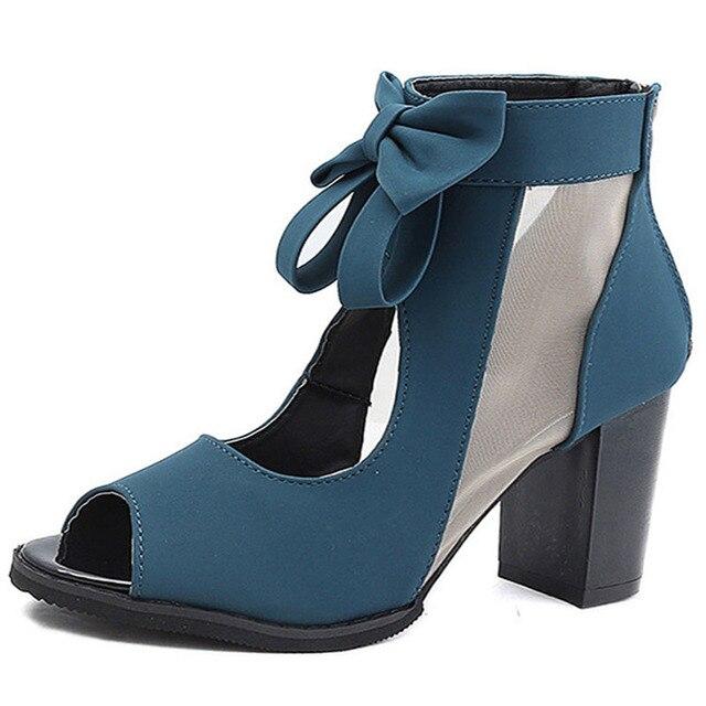 2019 夏の新ファッションブーツ中空弓の女性 landals バックジッパー魚の口の女性の靴 sandalias デ verano にパラ mujer