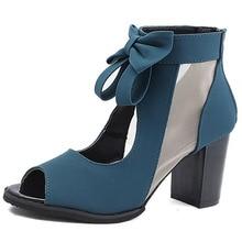 Botas femininas moda verão, botas legais com laço oco para mulheres, com zíper, boca de peixe, verão 2019 para mulher