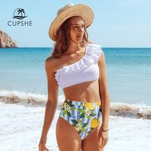 CUPSHE białe i cytrynowe jedno ramię zestawy Bikini Sexy wysokiej talii strój kąpielowy strój kąpielowy dwuczęściowy kobiety Biquinis 2021 strój kąpielowy tanie tanio POLIESTER CN (pochodzenie) WOMEN do pływania ADD4003M Dobrze pasuje do rozmiaru wybierz swój normalny rozmiar Floral