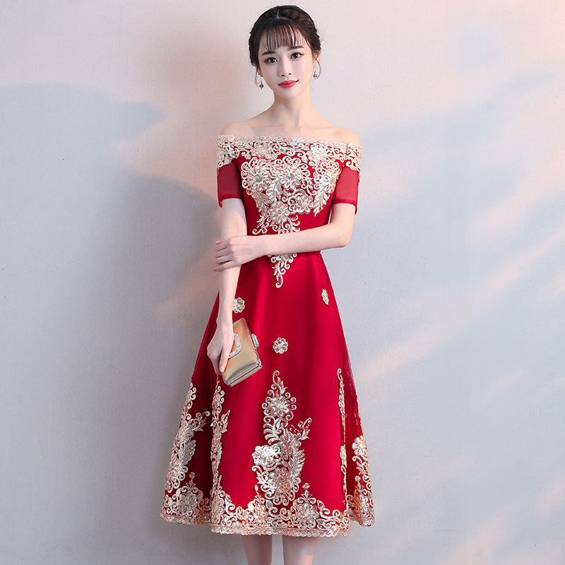 Bride Dress For Toast 2019 New Style Autumn Chinese Style Red Chinese-style Mid-length Off-Shoulder Marriage Dress Women's