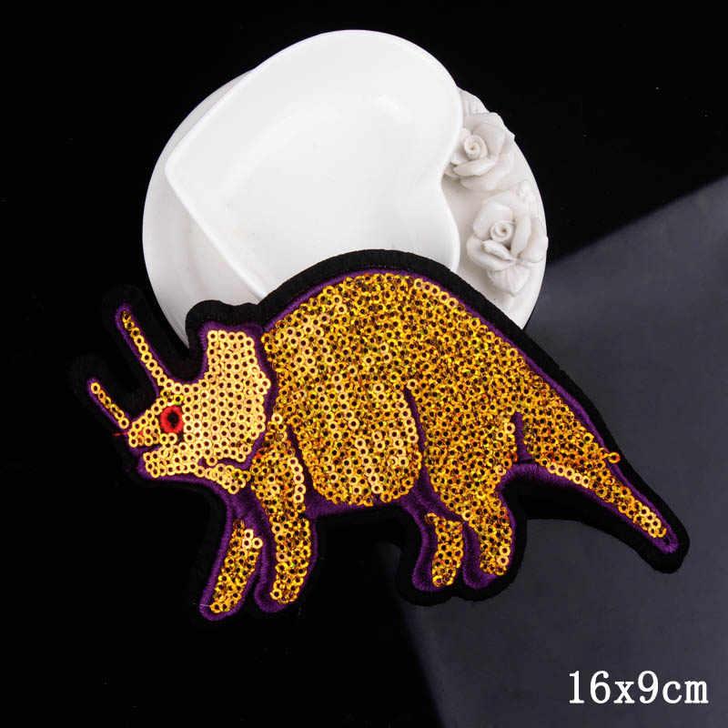 Ferro Sulla Zona FAI DA TE Dinosauro Patch Ricamato Toppe e Stemmi Per Abbigliamento Strisce Sui Vestiti di Applique Su Abbigliamento Giacca Abbigliamento Distintivi e Simboli