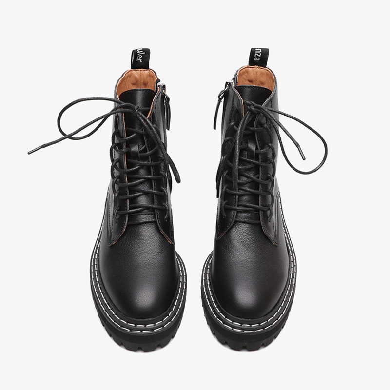 Boussac Black Punk Winter Boots for Women Lace up Flat Martin Boots Women Solid Ankle Women's Boots Botas Mujer SWE0627