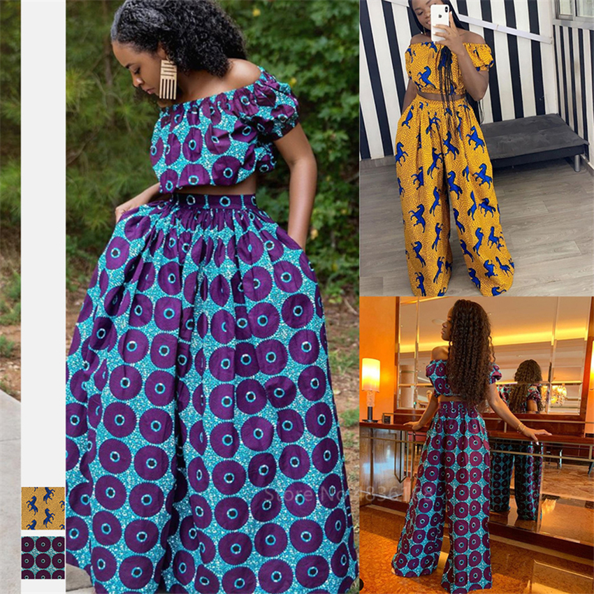 Fashion 2020 Ladies African Clothes Dashiki Print Shoulder Of Top Wide Leg Pants African Dresses For Women Trousers Plus Size