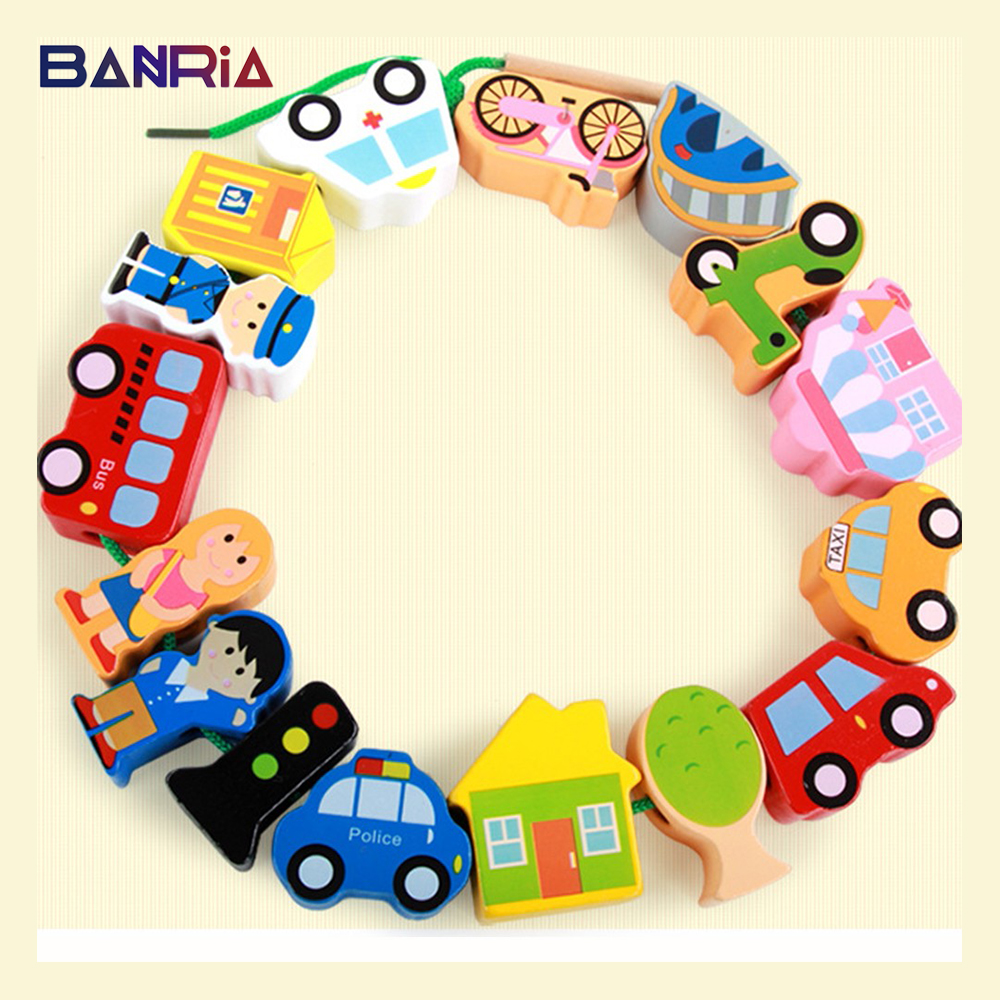 Threading Blocks Wooden Toys Diy Educational Toys Cartoon Farm/Character Dressing/Urban Traffic String Puzzles For Children