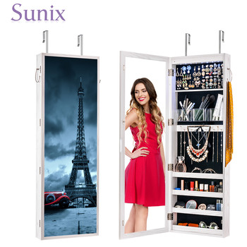 Wall Door Mounted Mirror Jewelry Cabinet Lockable Armoire Organizer with LED Light Bedroom  Jewelry Organizer Furniture goplus jewelry armoire cabinet box storage chest stand necklaces organizer wood nightstand with 5 drawers and top mirror hb82378