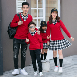 New Autumn Family Matching Outfits Mom And Daughter Fashion Fake Two-piece Dress Dad Son Sweatshirt Couples Matching Clothing