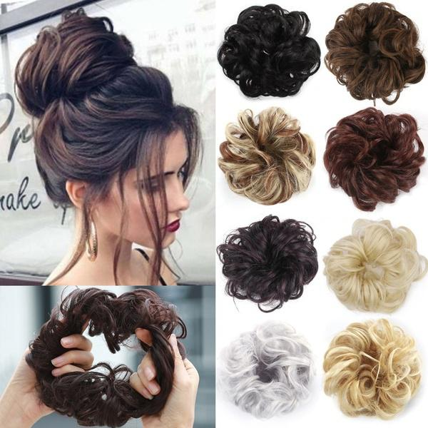 DSstyles 1 Pcs Women Fashion Synthetic Hair Pony Tail Hair Extension Bun Hairpiece Scrunchie Elastic Wedding Wave Curly