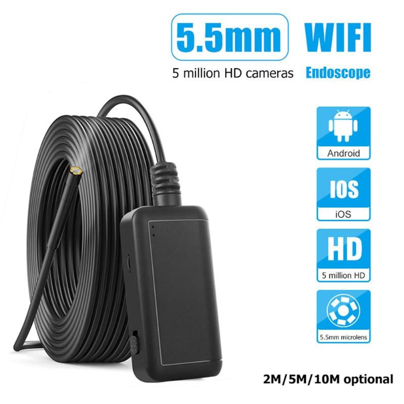VODOOL WiFi 5MP HD 1920P 6 LED Lens Endoscope IP67 Industrial Inspection Camera 2M/5M/10M Endoscope For Motor Vehicle Detection