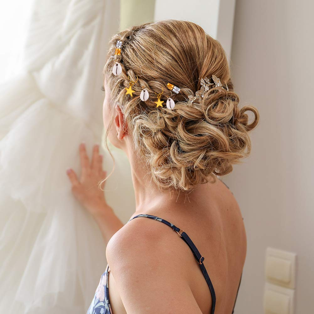 anéis de cabelo concha encantos bobinas de