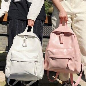 Image 1 - ファッションプレッピースタイルの女性のバックパックの革ランドセルteengersためgilrs大容量puトラベルバックパック嚢aドス