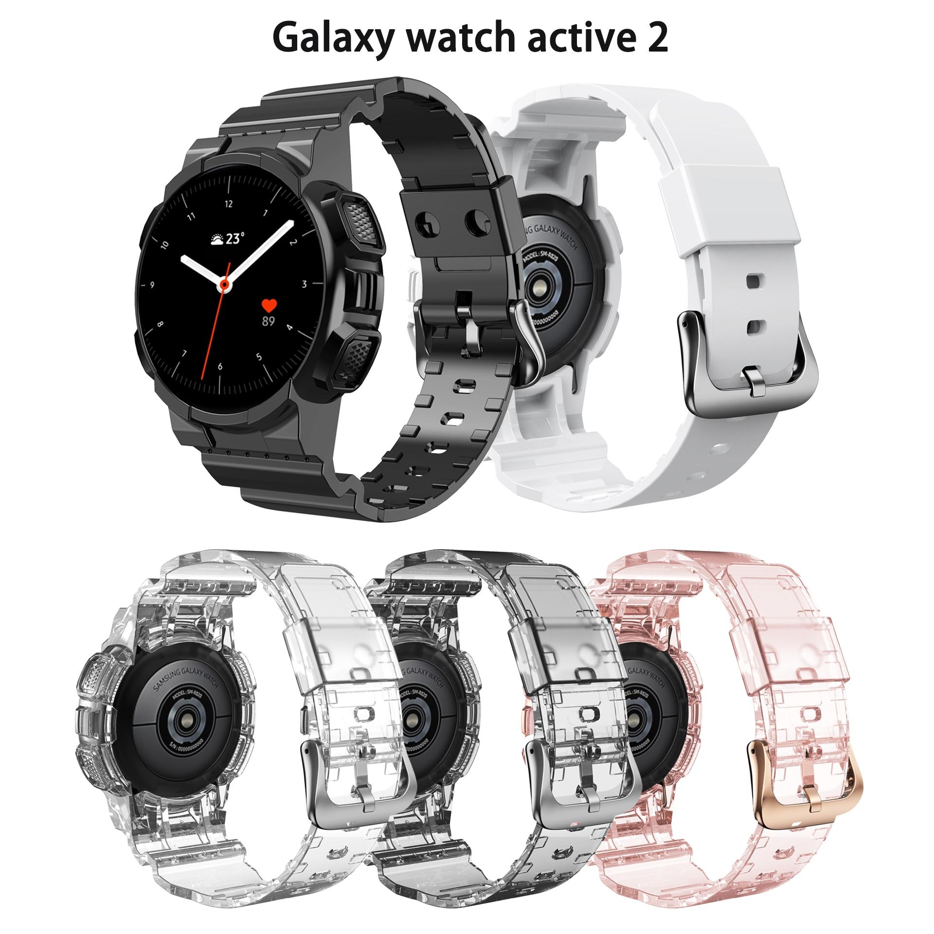 ТПУ ремешок для Samsung Galaxy Active 2 новейший спортивный ремешок прозрачный ремешок для часов + чехол для Galaxy Active 2 40 44 мм браслет